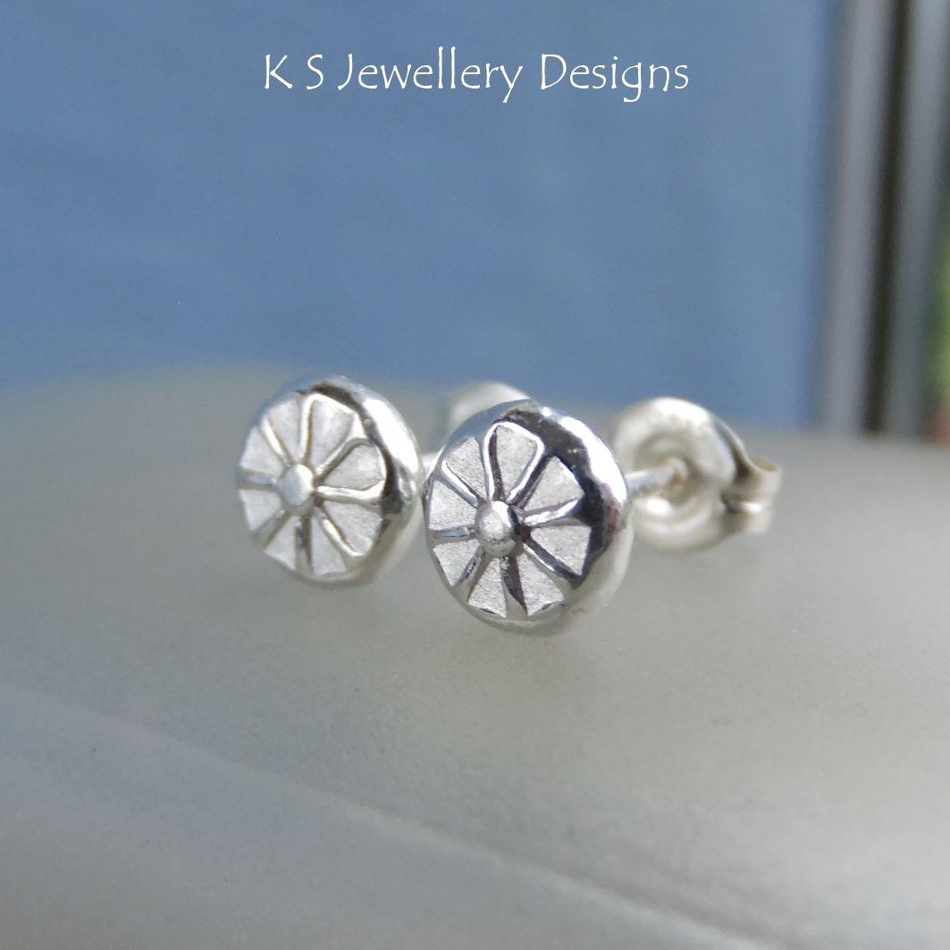 Flower Textured Pebbles Stud Earrings #9 - Sterling Silver Studs