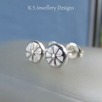 Flower Textured Pebbles Stud Earrings #9 - Sterling Silver Studs