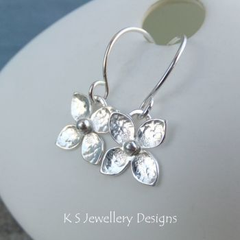 Four Petal Flowers - Sterling Silver Flower Drop Earrings
