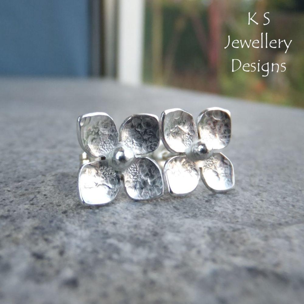 Four Petal Flowers V3 - Sterling Silver Stud Earrings