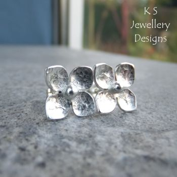 Four Petal Flowers V3 - Sterling Silver Stud Earrings