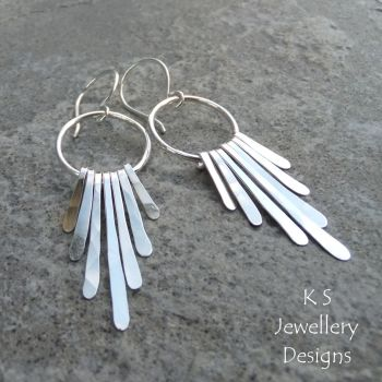 Waterfall Hoops Sterling Silver Earrings