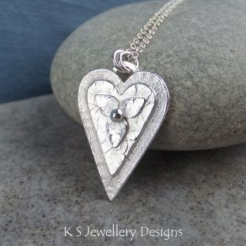 Layered Hearts (version 10) Sterling Silver Pendant