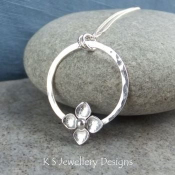Flower and Dappled Circle Sterling Silver Pendant