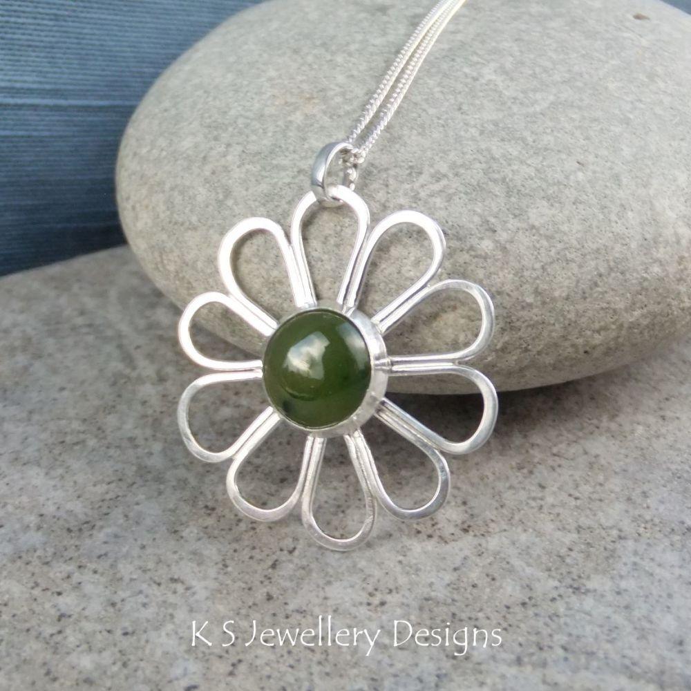 Jade Daisy - Sterling Silver Flower Pendant