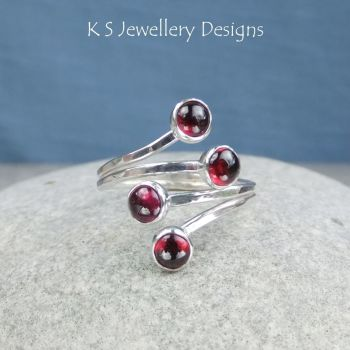 Garnet Multi-gemstone Wraparound Sterling Silver Ring (adjustable to fit many ring sizes from UK size K / US size 5.25 to UK size P / US 7.75)