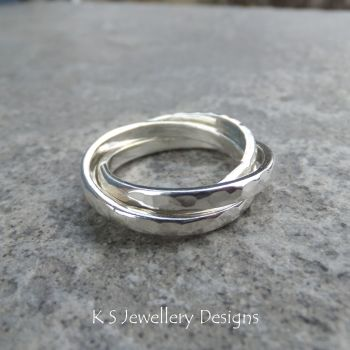 Dappled Rolling Rings - Russian Wedding Band - Sterling Silver Ring (made to order)