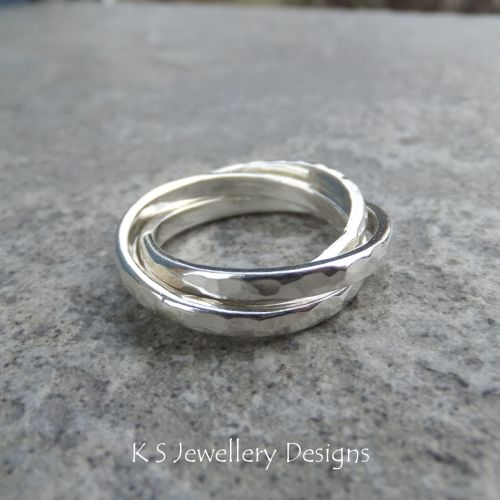 Dappled Rolling Rings - Russian Wedding Band - Sterling Silver Ring (made t