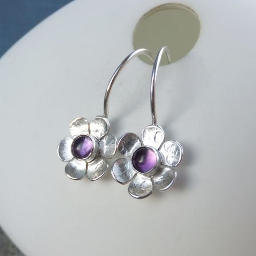 Amethyst Six Petal Flowers - Sterling Silver Gemstone Little Hoop Earrings