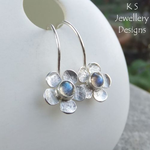 Labradorite Five Petal Flowers - Sterling Silver Gemstone Little Hoop Earri