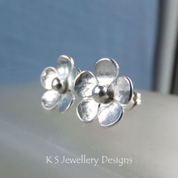 Five Petal Flowers - Sterling Silver Stud Earrings