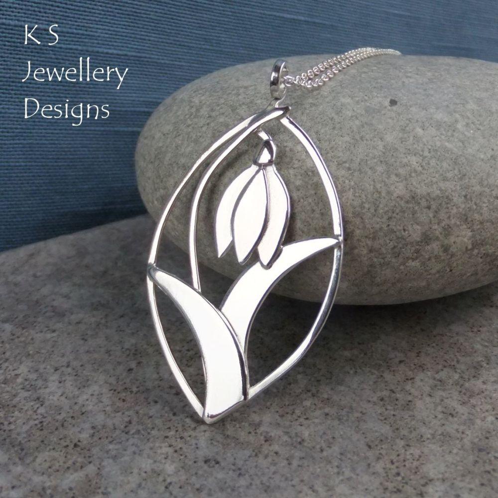 Shiny Snowdrop Leaf Framed Sterling Silver Pendant - Flower Necklace