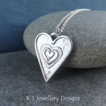 Layered Hearts (version 11) Sterling Silver Pendant