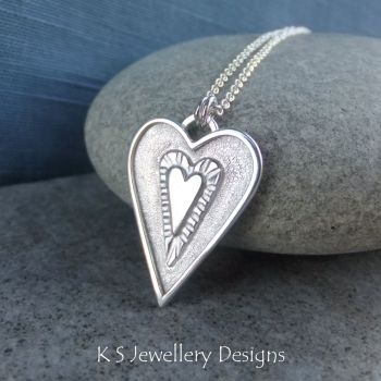 Layered Hearts (version 12) Sterling Silver Pendant
