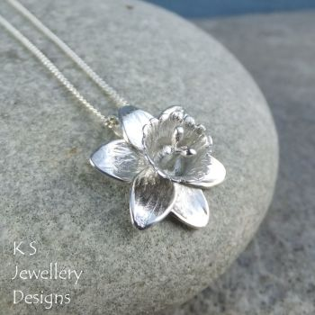 Daffodil Sterling Silver Pendant - Handmade Shiny Flower Necklace