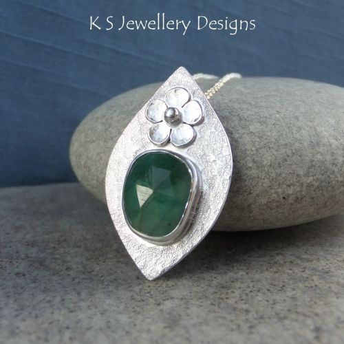 Natural Emerald Flower Adorned Sterling Silver Drop Pendant