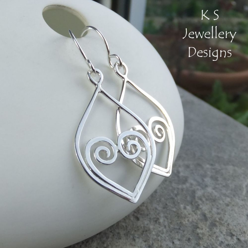 Hammered Wire Heart and Drop Frame Sterling Silver Dangly Earrings