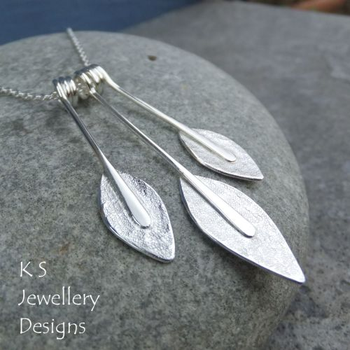 Textured Leaf Trio Sterling Silver Necklace