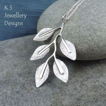 Textured Leaves - Sterling Silver Branch Pendant
