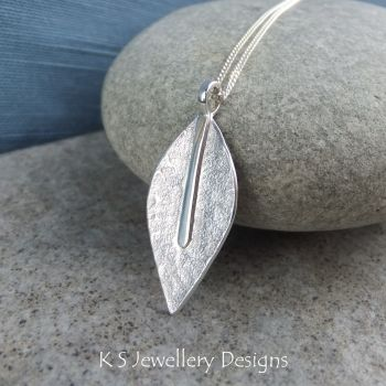 Textured Leaf Sterling Silver Pendant