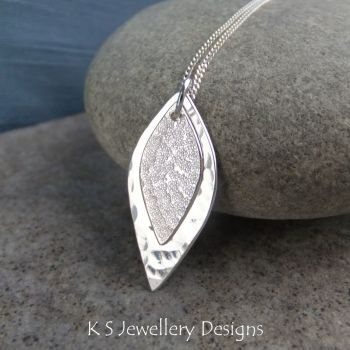 Double Leaf Sterling Silver Pendant - Layered Leaves - Dappled and Textured