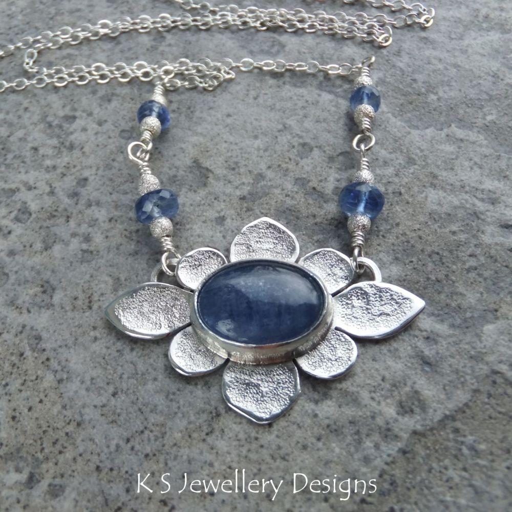 Kyanite Oval Flower Sterling Silver Necklace