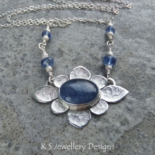 Kyanite Oval Flower Sterling Silver Necklace