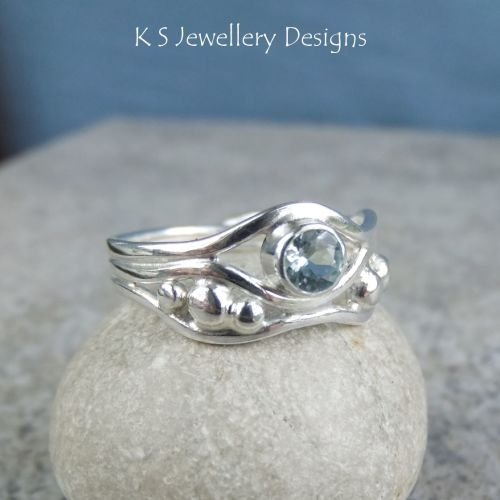 Aquamarine Freeform Sterling Silver Waves and Pebbles Ring (3 waves) - (UK