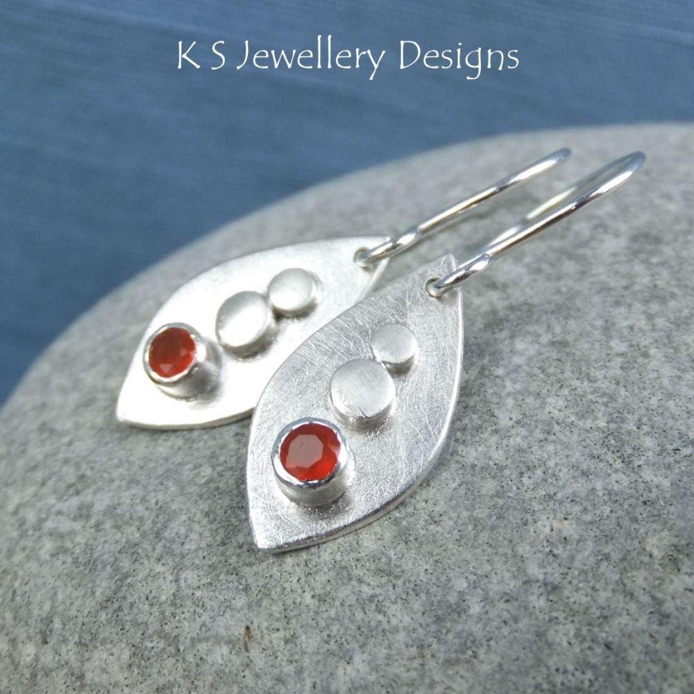 Carnelian & Shiny Pebbles Sterling Silver Drop Earrings