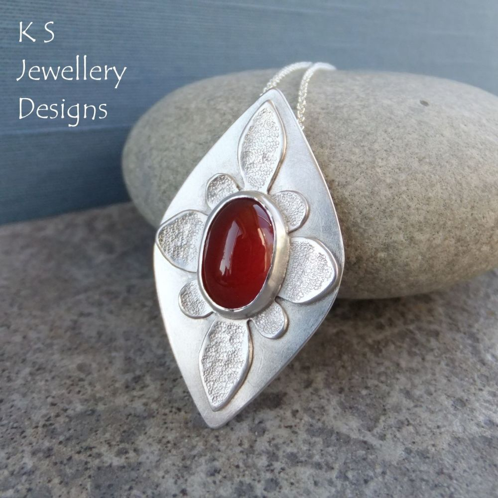 Carnelian Textured Oval Flower Sterling Silver Drop Pendant