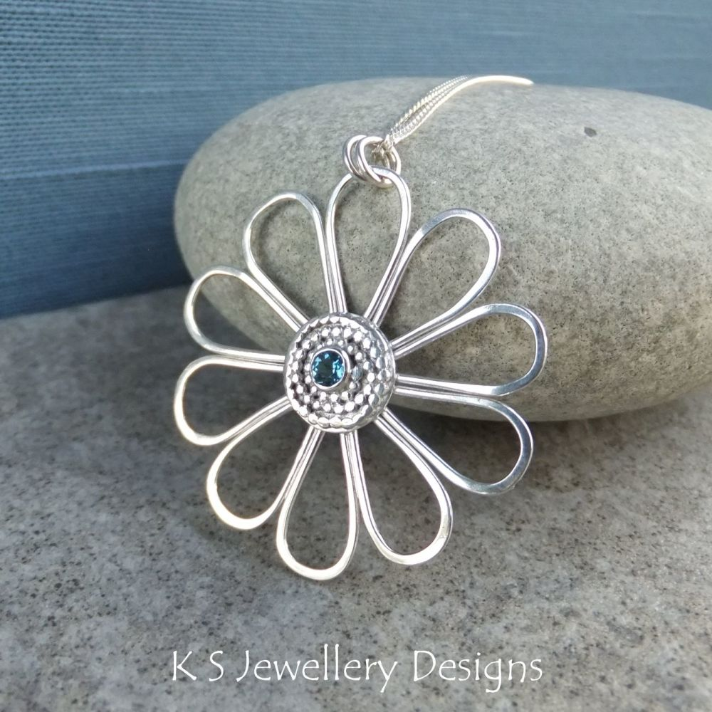 London Blue Topaz Daisy - Sterling Silver Wire Flower Pendant