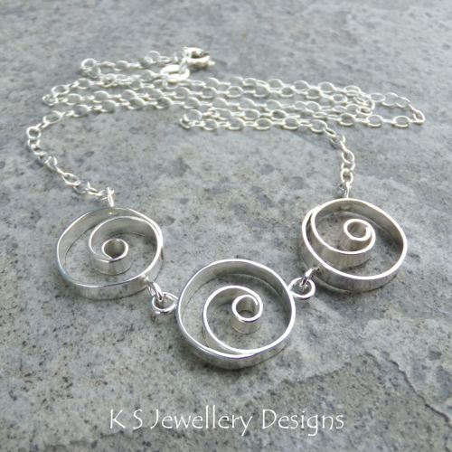 Spiral Circles Trio Sterling Silver Necklace