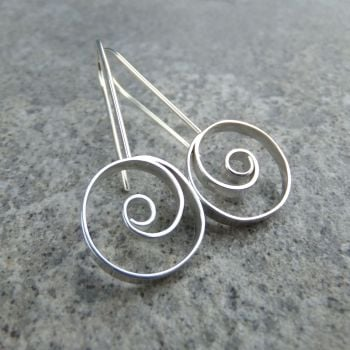 Spiral Circle Sterling Silver Earrings