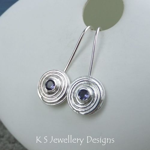 Iolite Spiral Discs - Sterling Silver Dangly Gemstone Earrings