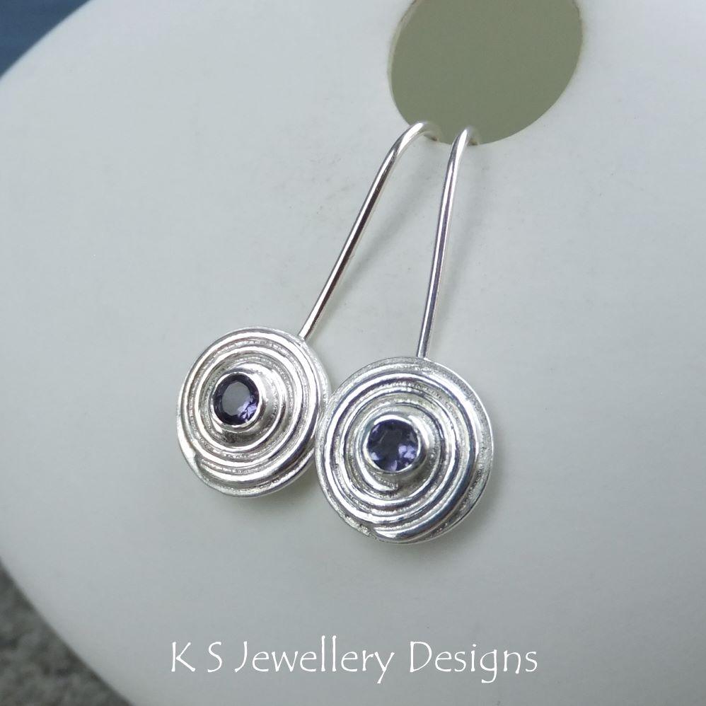 Iolite Spiral Discs - Sterling Silver Dangly Gemstone Earrings