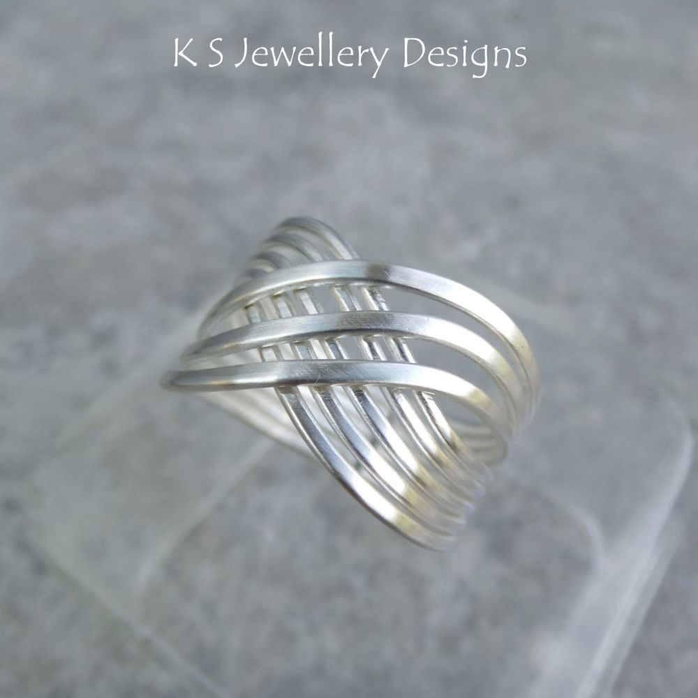 Swirl Criss Cross Wire Sterling Silver Ring (finished to your size)