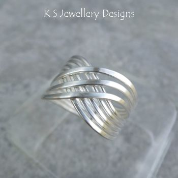 Swirl Criss Cross Sterling Silver Wire Ring (finished to your size)