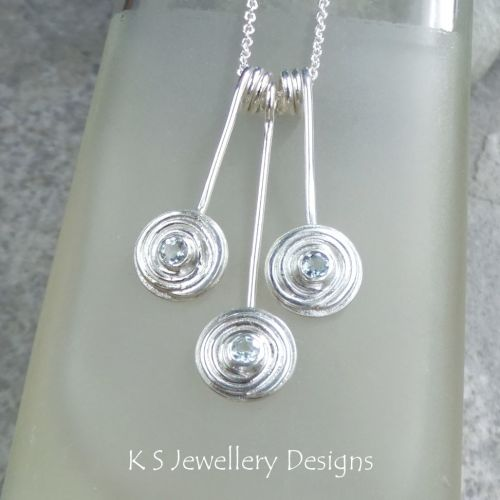 Blue Topaz Spiral Discs Trio Sterling Silver Necklace