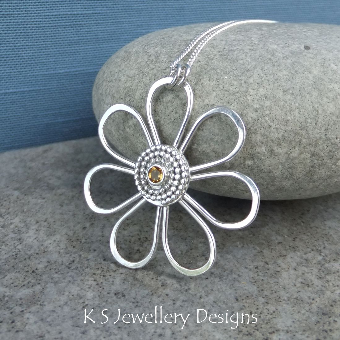 Citrine Daisy - Sterling Silver Wire Flower Pendant