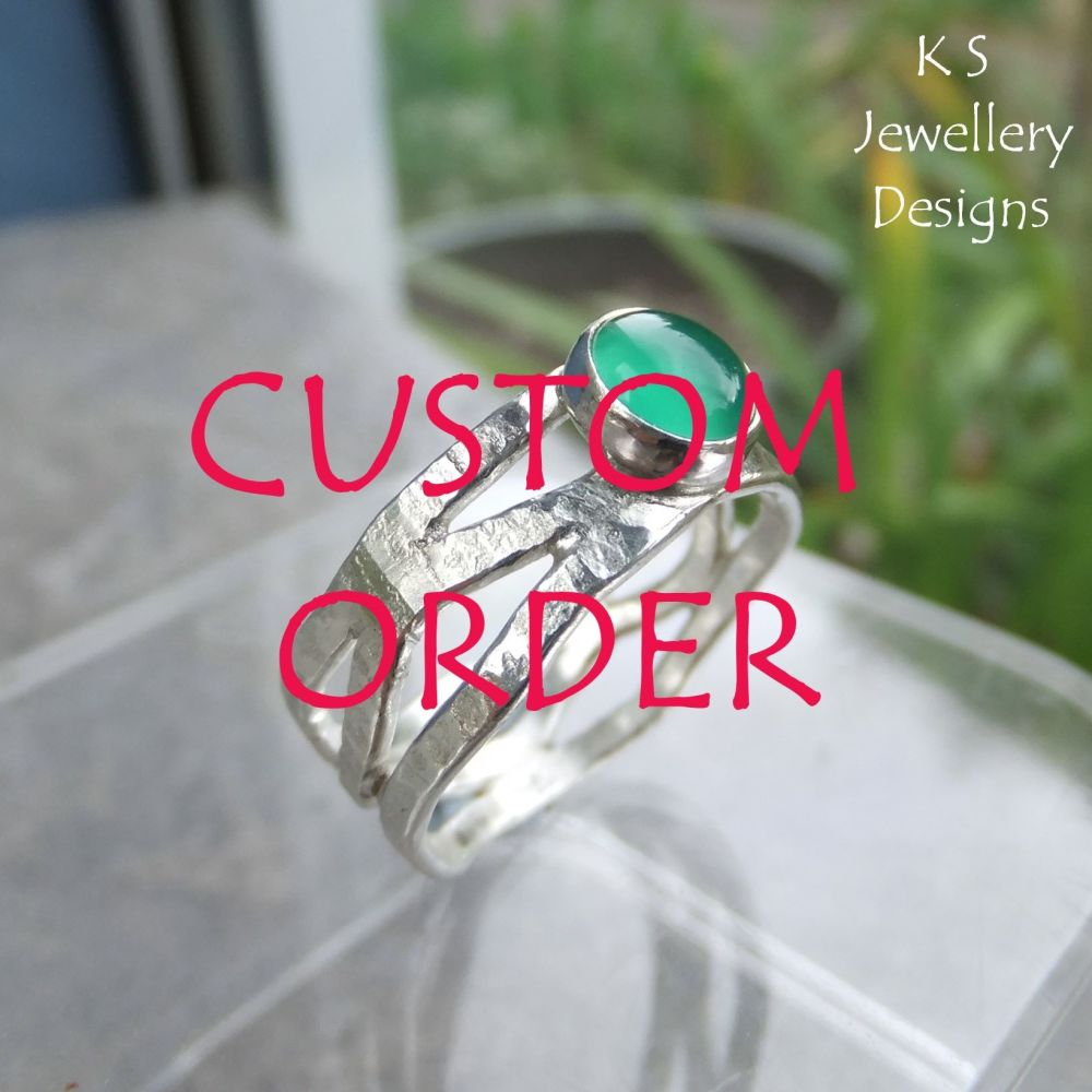 * CUSTOM ORDER FOR HELEN - Amethyst Bark Textured Fine Silver Wavy Ring