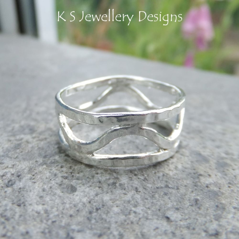 Bark Textured Waves Fine Silver Ring (UK size T / US size 9.75)