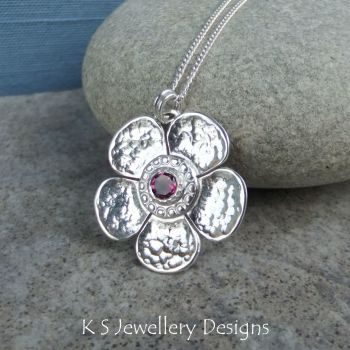 Rhodolite Garnet Dappled Flower Sterling Silver Pendant - Gemstone Five Petal Blossom