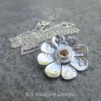 Citrine Dappled Flower Sterling Silver Pendant - Gemstone Daisy