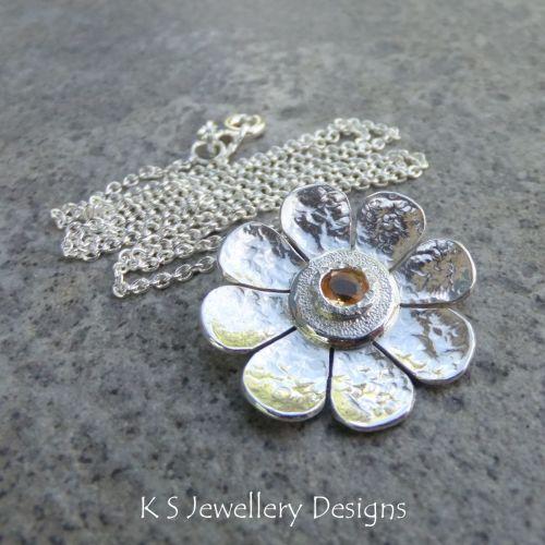 Citrine Dappled Flower Sterling Silver Pendant - Gemstone Daisy