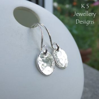 Textured Oval Sterling Silver Earrings