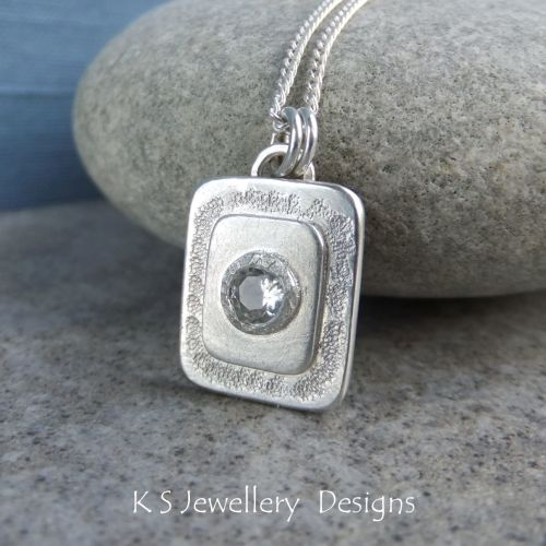 White Topaz Textured Layers Rectangular Sterling Silver Pendant