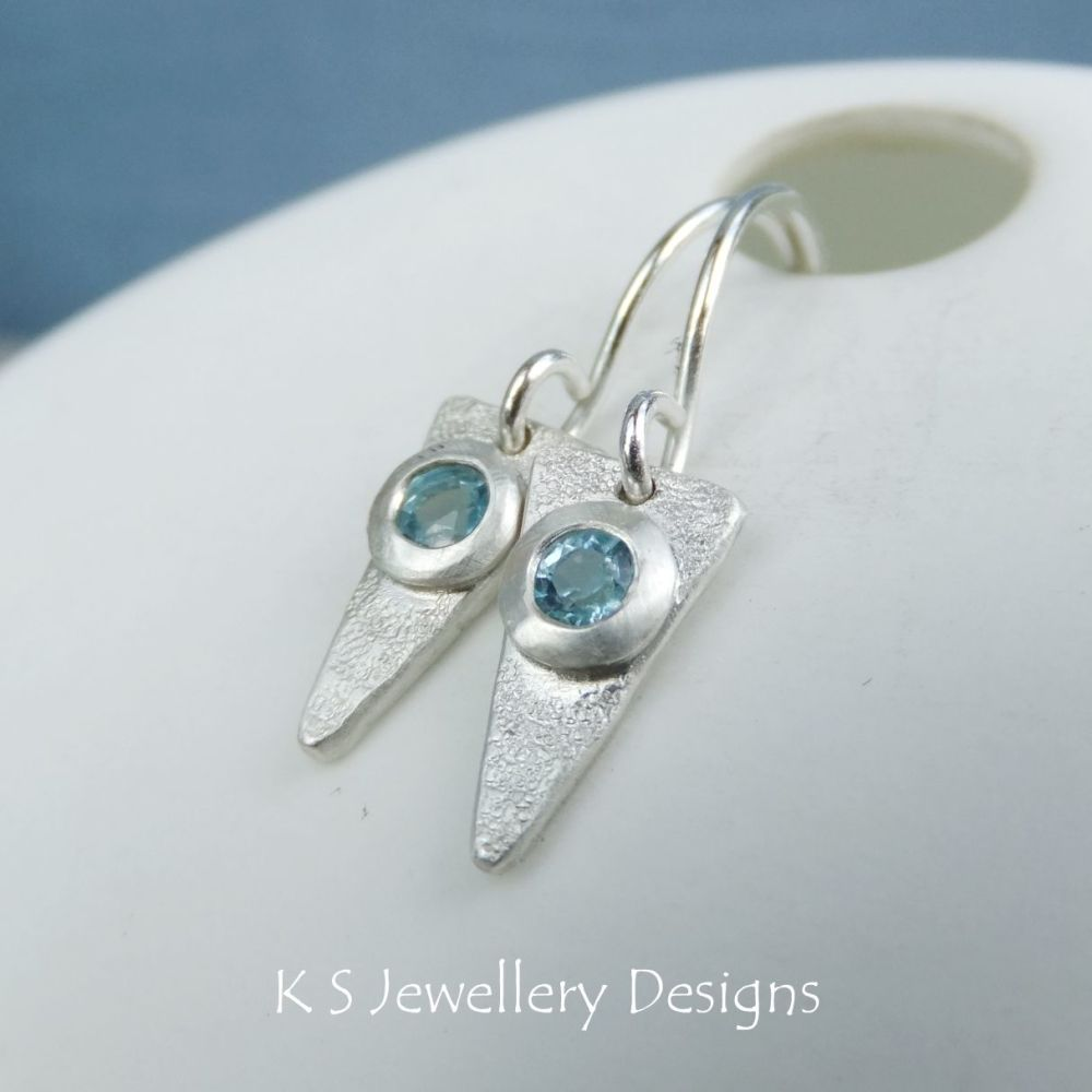 Blue Topaz Textured Triangle Drops - Sterling Silver Gemstone Earrings