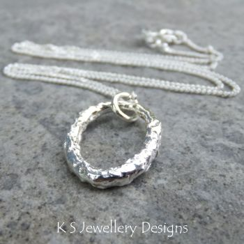 Textured Oval Fine Silver Pendant