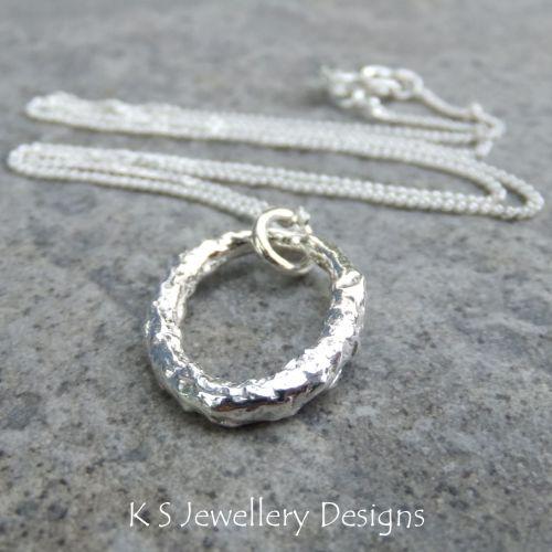 Textured Oval Fine Silver Pendant