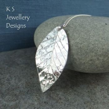 Textured and Dappled Fine Silver Leaf Pendant